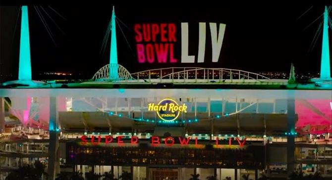 Super Bowl LIV Miami Projection Mapping