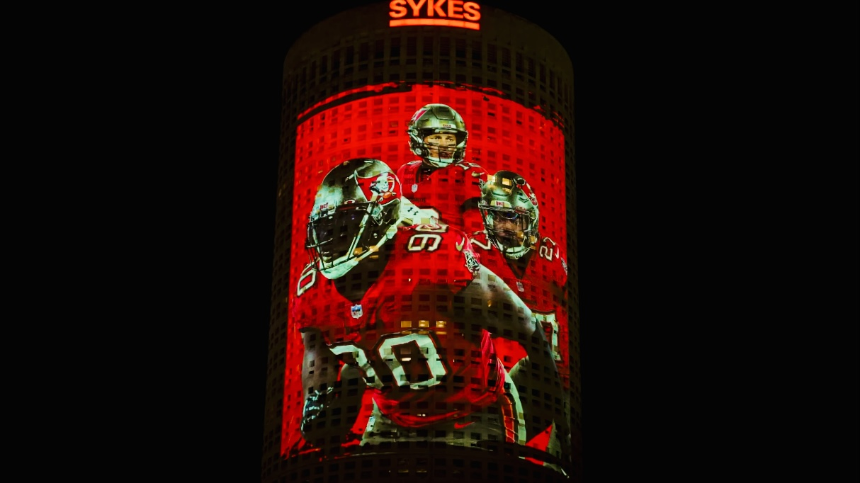 SuperBowl LV Rivergate Tower Projection