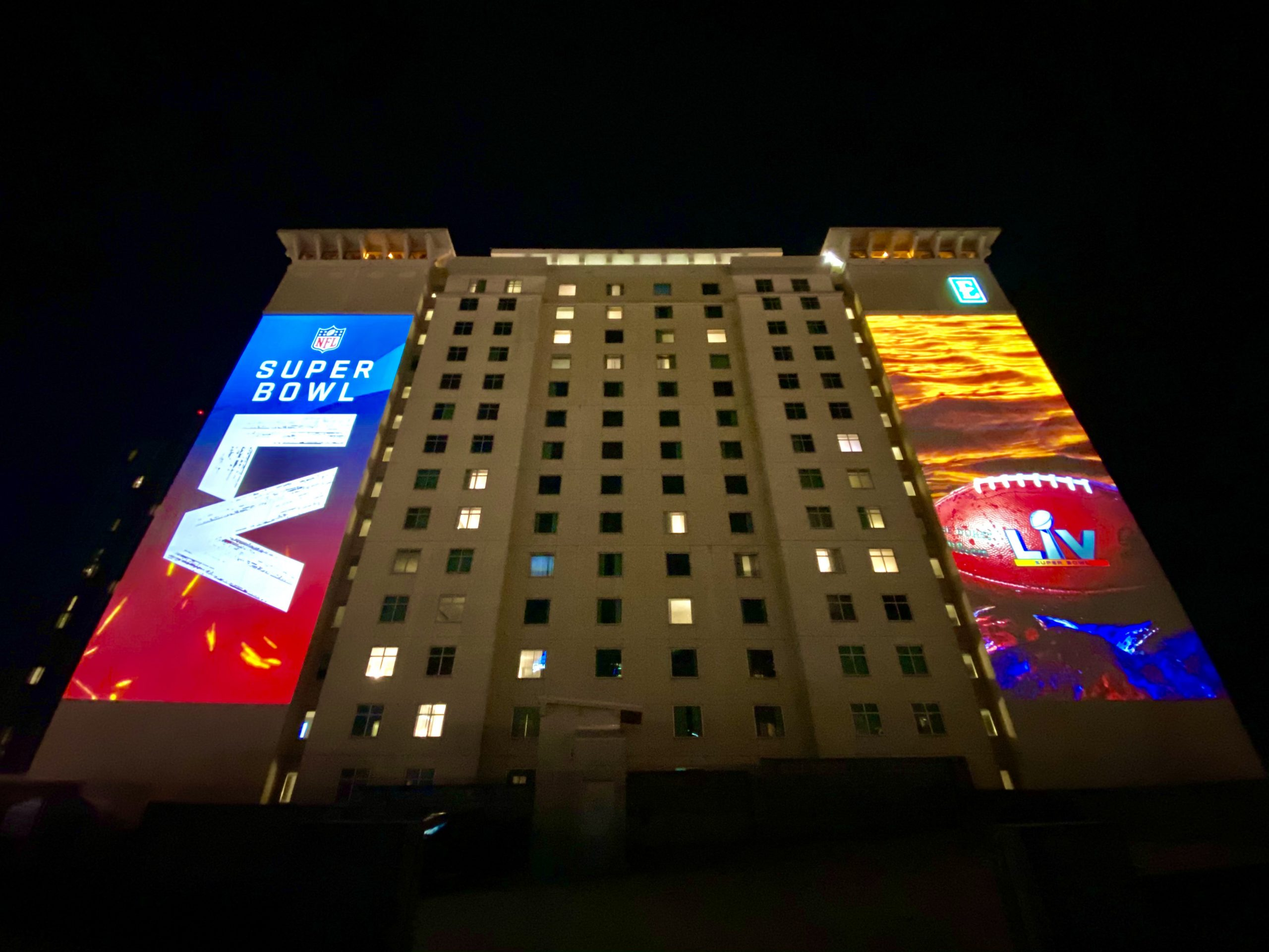 SuperBowl LV Tampa Projection Mapping Embassy Suites